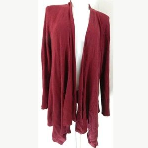 Eileen Fisher Open Front Red Cardigan